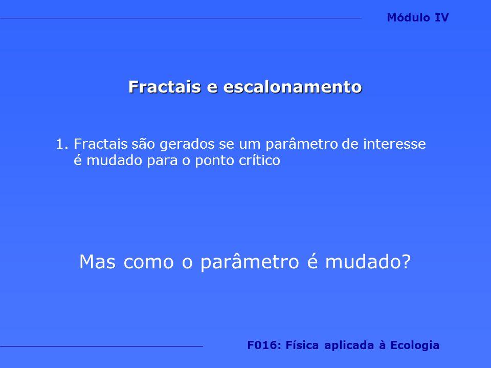 Fractais e escalonamento 1.Fractais são gerados se um parâmetro de interesse é mudado para o ponto crítico Mas como o parâmetro é mudado? Módulo IV F0