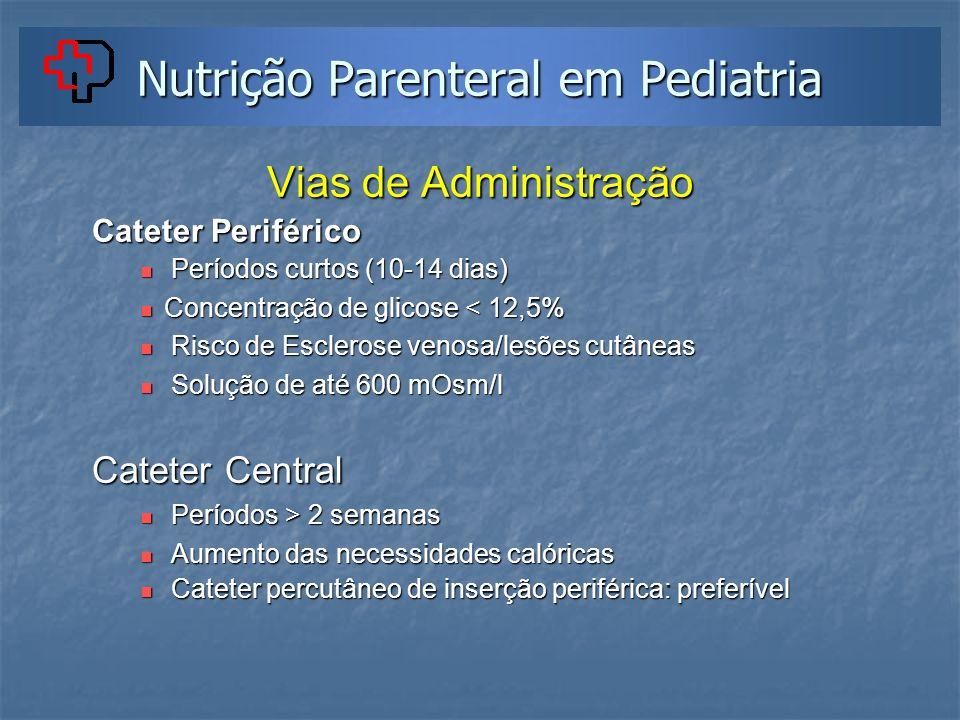 Nutrição Parenteral em Pediatria Vias de Administração Cateter Periférico Períodos curtos (10-14 dias) Períodos curtos (10-14 dias) Concentração de gl