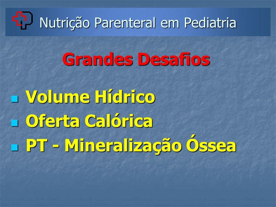 Nutrição Parenteral em Pediatria Grandes Desafios Volume Hídrico Volume Hídrico Oferta Calórica Oferta Calórica PT - Mineralização Óssea PT - Minerali