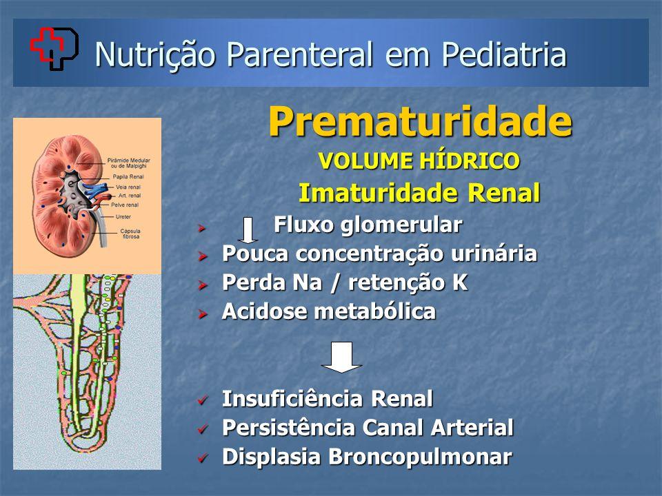Nutrição Parenteral em Pediatria Prematuridade VOLUME HÍDRICO Imaturidade Renal Fluxo glomerular Fluxo glomerular Pouca concentração urinária Pouca co