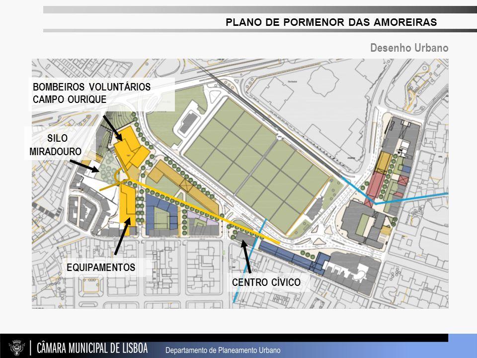 PLANO DE PORMENOR DAS AMOREIRAS BOMBEIROS VOLUNTÁRIOS CAMPO OURIQUE EQUIPAMENTOS SILO MIRADOURO CENTRO CÍVICO Desenho Urbano