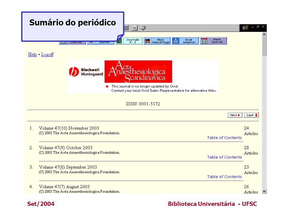 Set/2004Biblioteca Universitária - UFSC Sumário do periódico