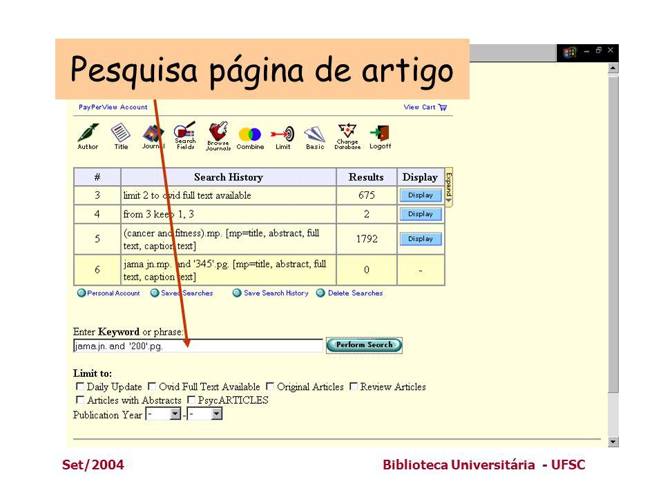 Set/2004Biblioteca Universitária - UFSC Pesquisa página de artigo