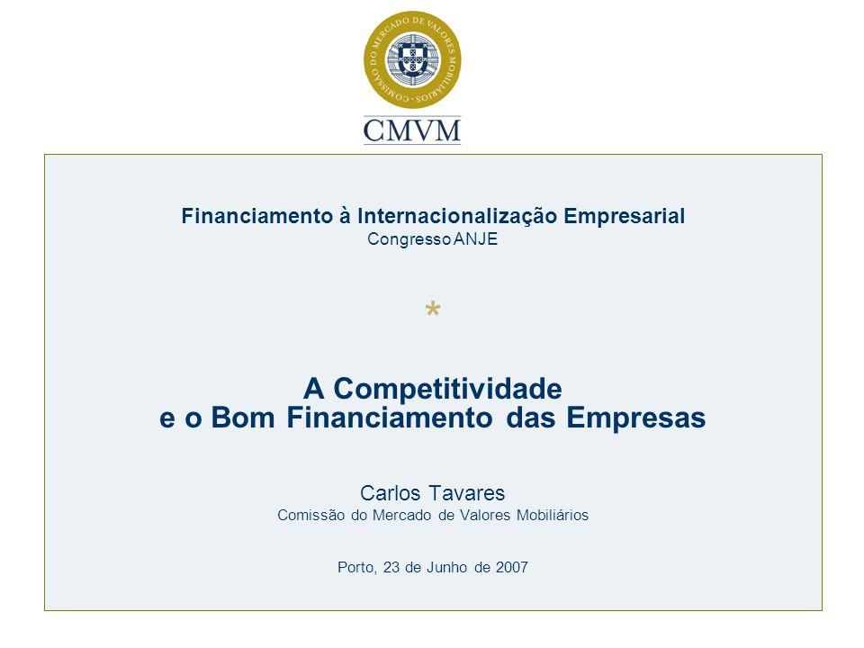 Financiamento à Internacionalização Empresarial Congresso ANJE * A Competitividade e o Bom Financiamento das Empresas Carlos Tavares Comissão do Merca