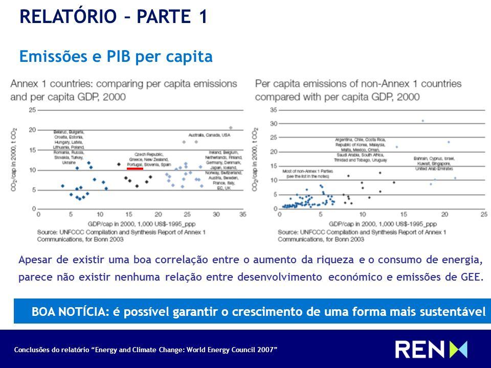 Conclusões do relatório Energy and Climate Change: World Energy Council 2007 RELATÓRIO – PARTE 1 Emissões e PIB per capita Apesar de existir uma boa c
