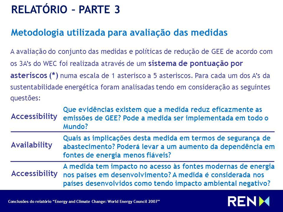 Conclusões do relatório Energy and Climate Change: World Energy Council 2007 RELATÓRIO – PARTE 3 Metodologia utilizada para avaliação das medidas A av