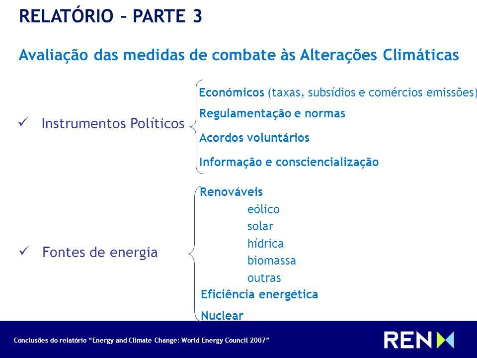 Conclusões do relatório Energy and Climate Change: World Energy Council 2007 RELATÓRIO – PARTE 3 Avaliação das medidas de combate às Alterações Climát