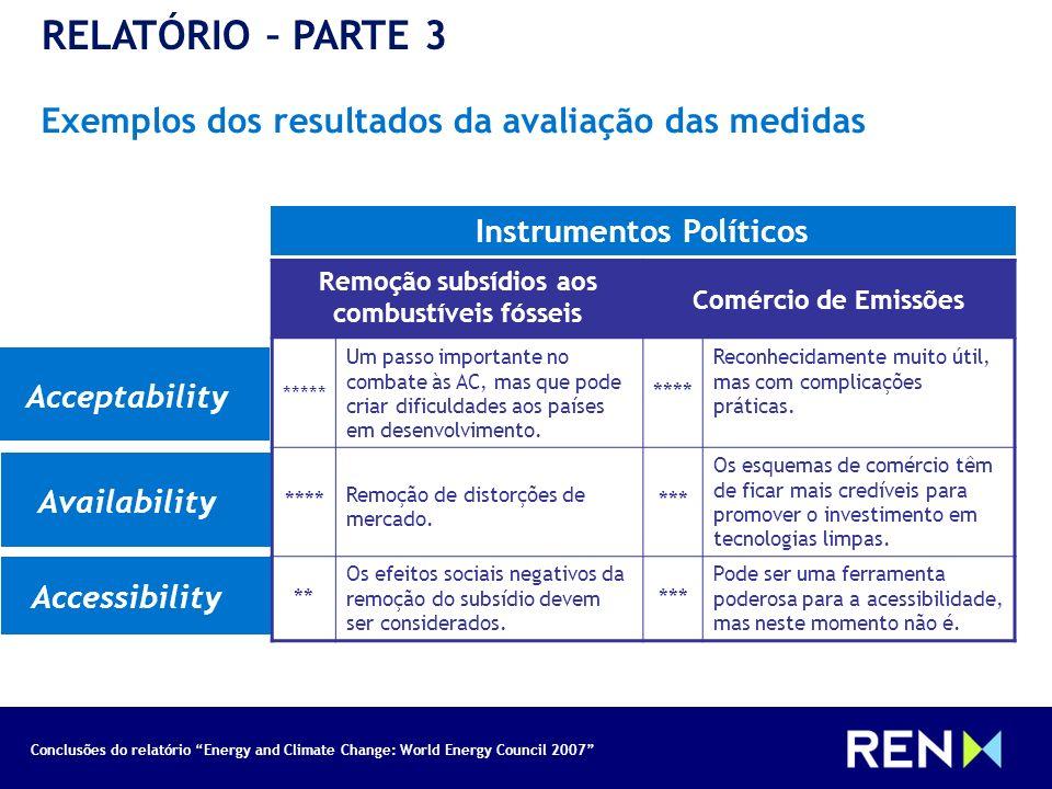 Conclusões do relatório Energy and Climate Change: World Energy Council 2007 RELATÓRIO – PARTE 3 Exemplos dos resultados da avaliação das medidas Inst