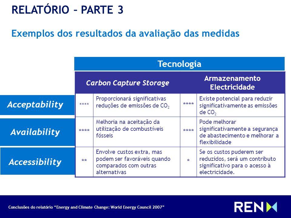 Conclusões do relatório Energy and Climate Change: World Energy Council 2007 RELATÓRIO – PARTE 3 Exemplos dos resultados da avaliação das medidas Tecn