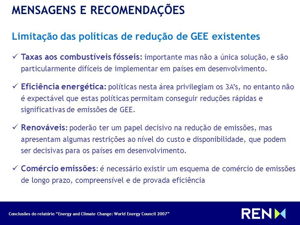 Conclusões do relatório Energy and Climate Change: World Energy Council 2007 MENSAGENS E RECOMENDAÇÕES Limitação das políticas de redução de GEE exist