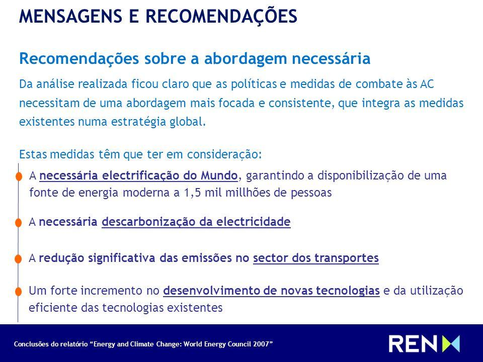 Conclusões do relatório Energy and Climate Change: World Energy Council 2007 MENSAGENS E RECOMENDAÇÕES Recomendações sobre a abordagem necessária Da a