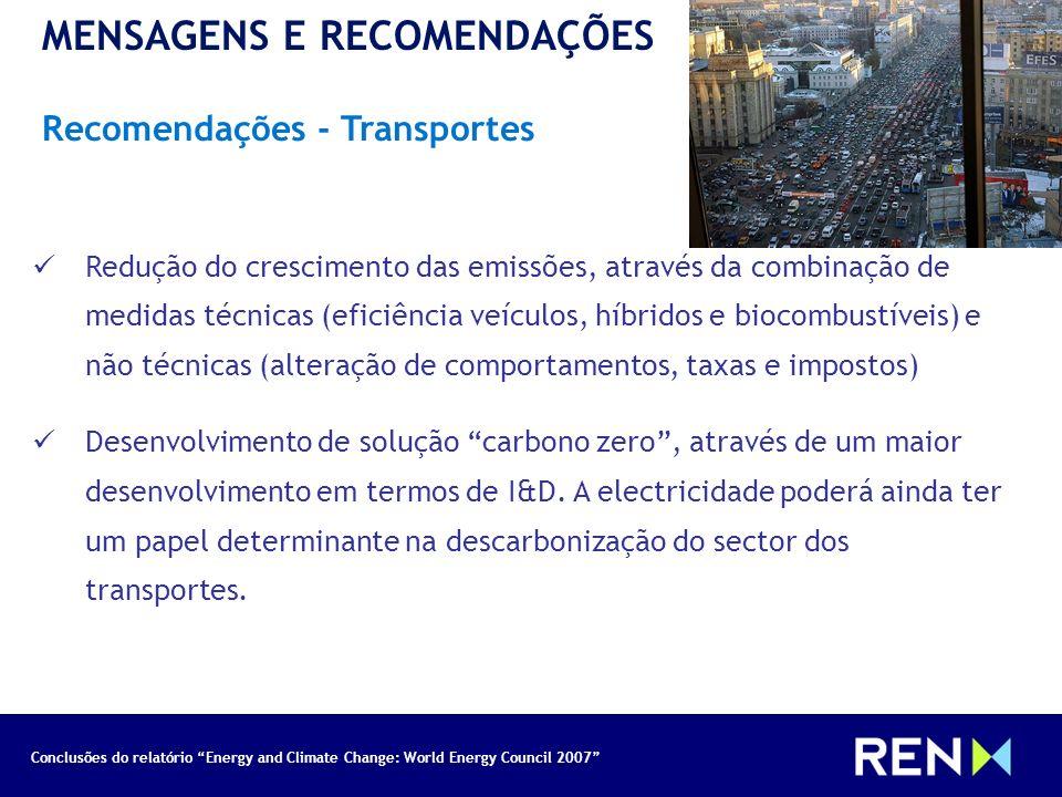 Conclusões do relatório Energy and Climate Change: World Energy Council 2007 MENSAGENS E RECOMENDAÇÕES Recomendações - Transportes Redução do crescime