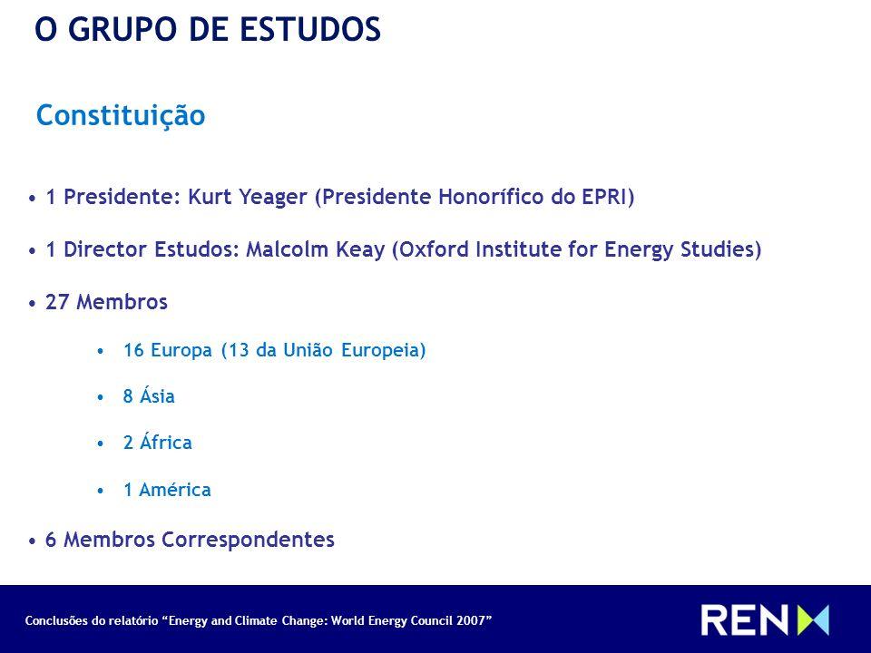 Conclusões do relatório Energy and Climate Change: World Energy Council 2007 Constituição O GRUPO DE ESTUDOS 1 Presidente: Kurt Yeager (Presidente Hon