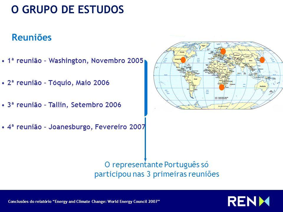 Conclusões do relatório Energy and Climate Change: World Energy Council 2007 Reuniões O GRUPO DE ESTUDOS O representante Português só participou nas 3
