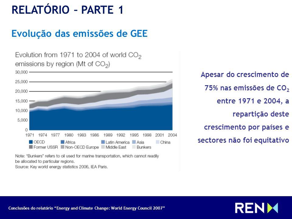 Conclusões do relatório Energy and Climate Change: World Energy Council 2007 RELATÓRIO – PARTE 1 Emissões e PIB per capita Apesar de existir uma boa correlação entre o aumento da riqueza e o consumo de energia, parece não existir nenhuma relação entre desenvolvimento económico e emissões de GEE.