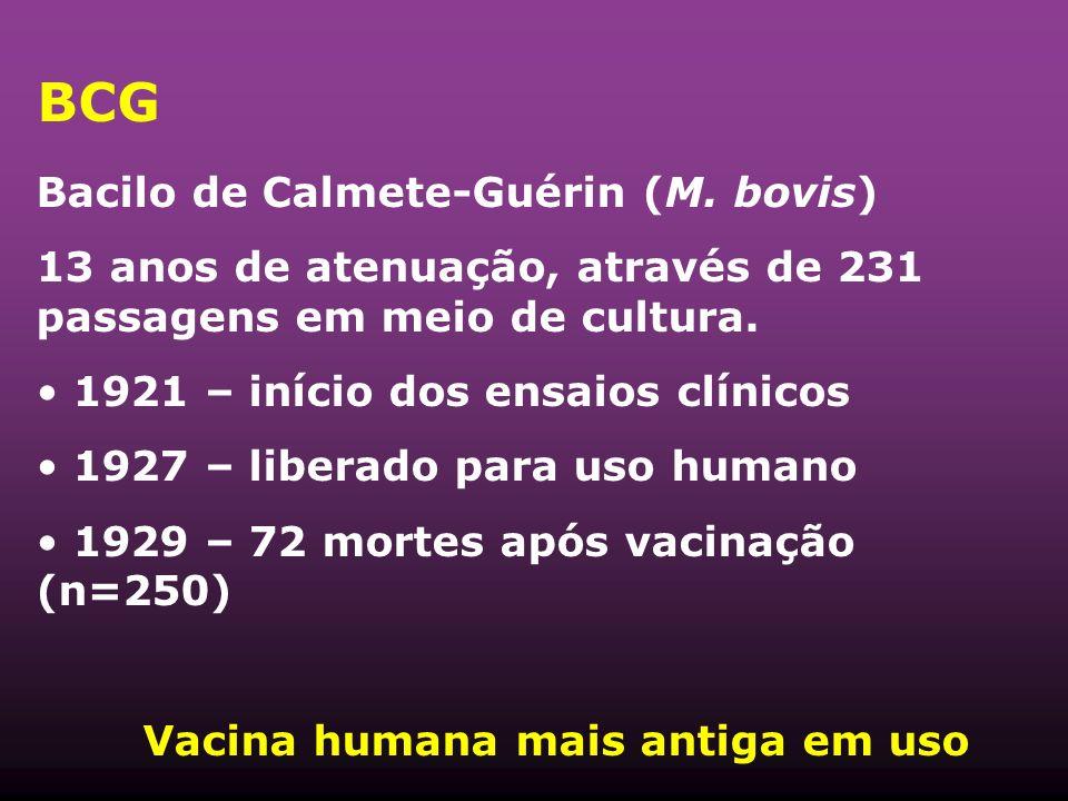BCG Bacilo de Calmete-Guérin (M. bovis) 13 anos de atenuação, através de 231 passagens em meio de cultura. 1921 – início dos ensaios clínicos 1927 – l
