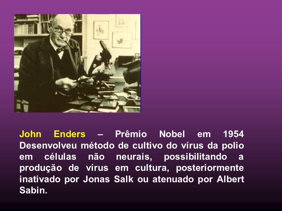 John Enders – Prêmio Nobel em 1954 Desenvolveu método de cultivo do vírus da polio em células não neurais, possibilitando a produção de vírus em cultu