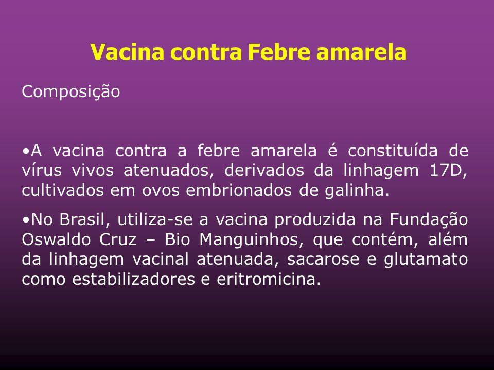 Vacina contra Febre amarela Composição A vacina contra a febre amarela é constituída de vírus vivos atenuados, derivados da linhagem 17D, cultivados em ovos embrionados de galinha.