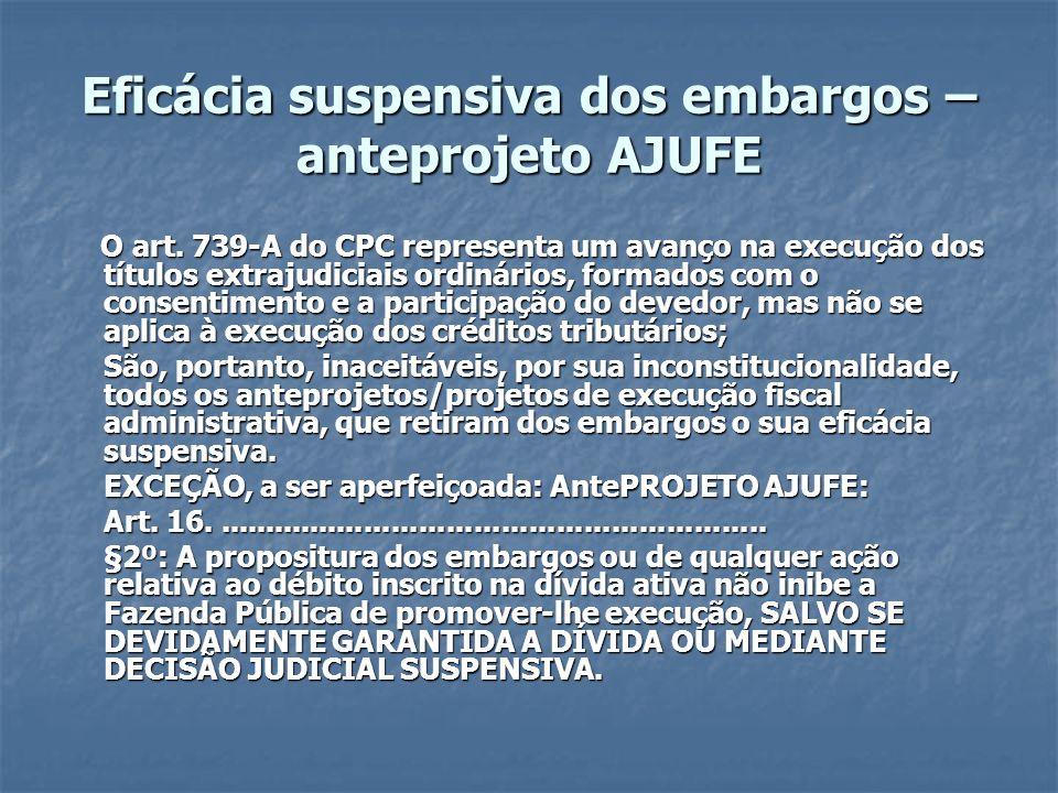Eficácia suspensiva dos embargos – anteprojeto AJUFE O art. 739-A do CPC representa um avanço na execução dos títulos extrajudiciais ordinários, forma