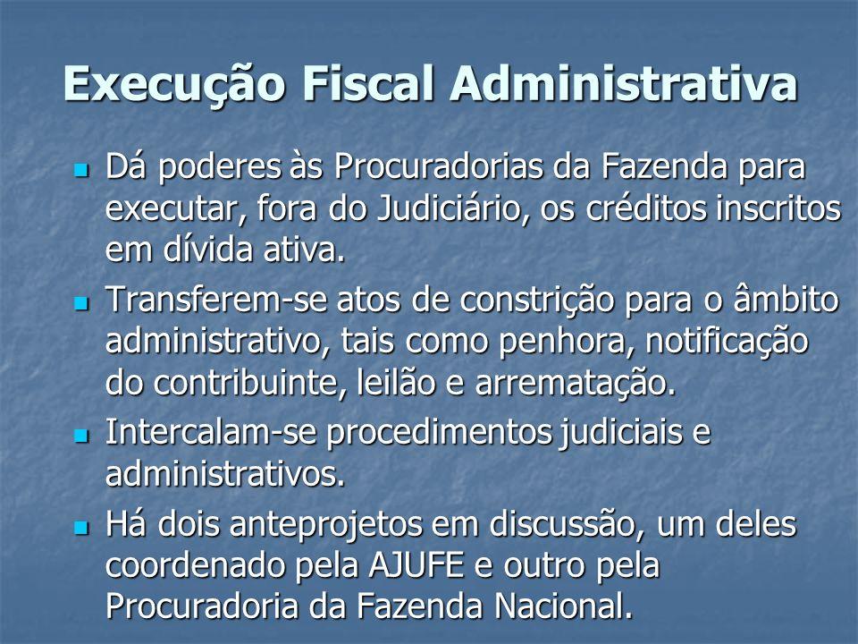 Execução Fiscal Administrativa Dá poderes às Procuradorias da Fazenda para executar, fora do Judiciário, os créditos inscritos em dívida ativa. Dá pod