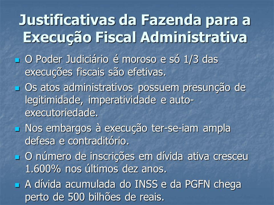 Justificativas da Fazenda para a Execução Fiscal Administrativa O Poder Judiciário é moroso e só 1/3 das execuções fiscais são efetivas. O Poder Judic
