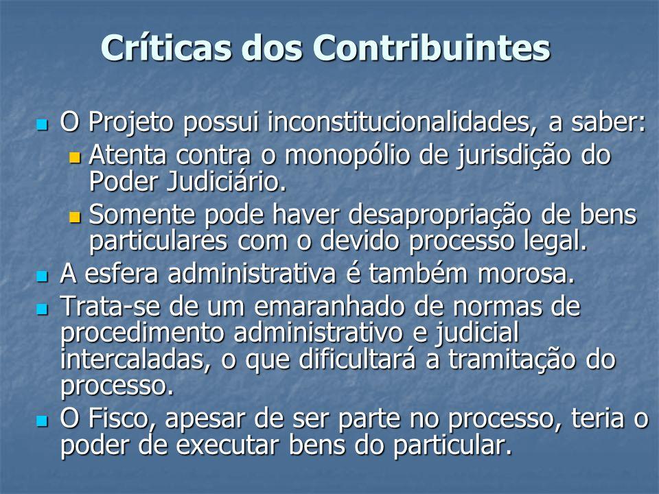 Críticas dos Contribuintes O Projeto possui inconstitucionalidades, a saber: O Projeto possui inconstitucionalidades, a saber: Atenta contra o monopól