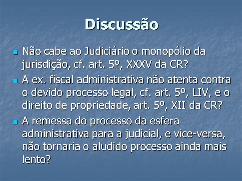 Discussão Não cabe ao Judiciário o monopólio da jurisdição, cf. art. 5º, XXXV da CR? Não cabe ao Judiciário o monopólio da jurisdição, cf. art. 5º, XX