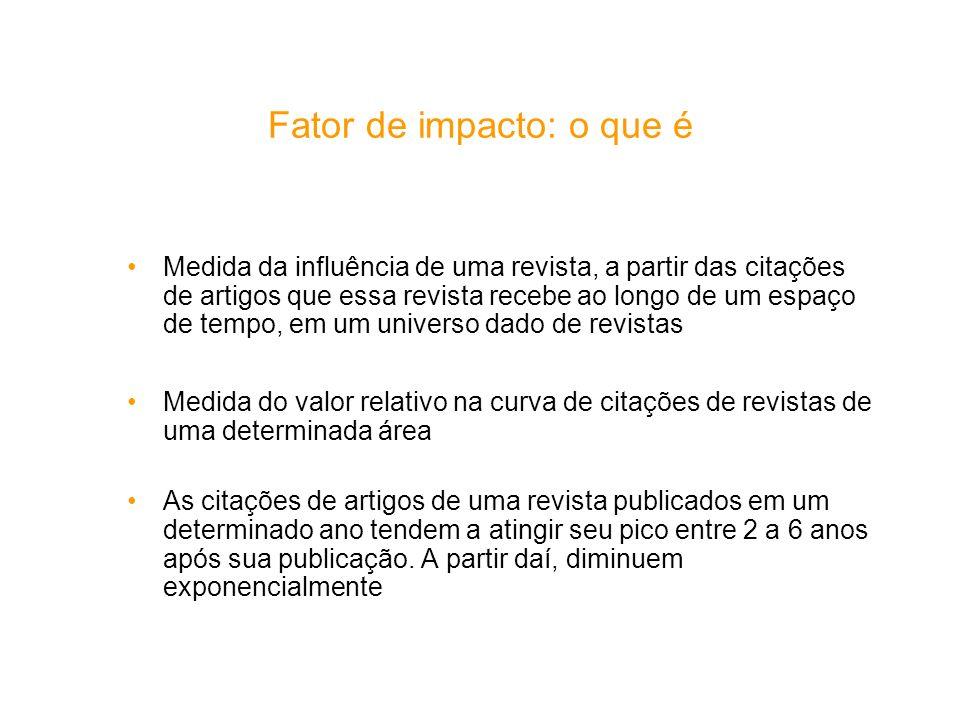 Fator de impacto: o que é Medida da influência de uma revista, a partir das citações de artigos que essa revista recebe ao longo de um espaço de tempo