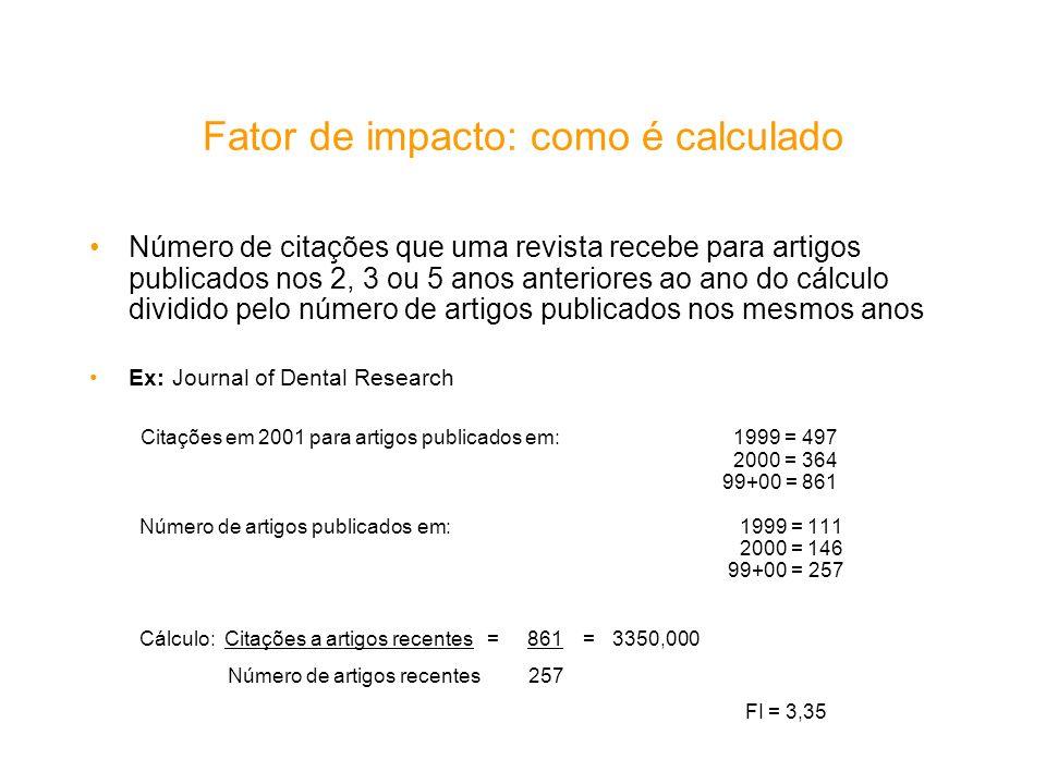 Fator de impacto: como é calculado Número de citações que uma revista recebe para artigos publicados nos 2, 3 ou 5 anos anteriores ao ano do cálculo d
