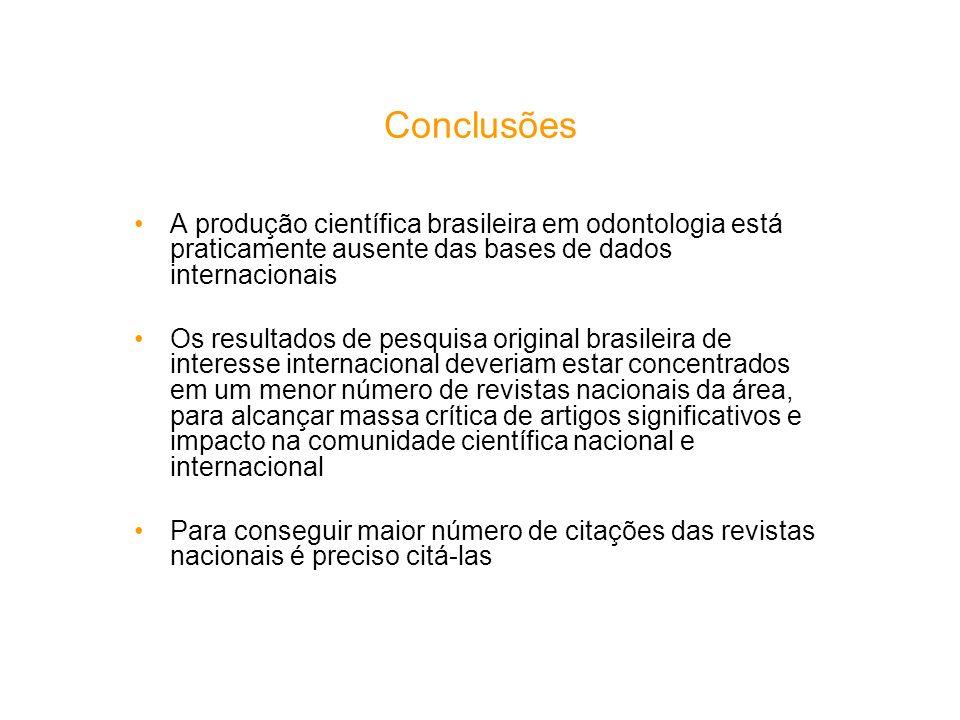 Conclusões A produção científica brasileira em odontologia está praticamente ausente das bases de dados internacionais Os resultados de pesquisa origi