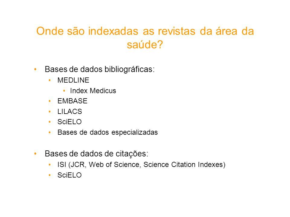 Onde são indexadas as revistas da área da saúde? Bases de dados bibliográficas: MEDLINE Index Medicus EMBASE LILACS SciELO Bases de dados especializad