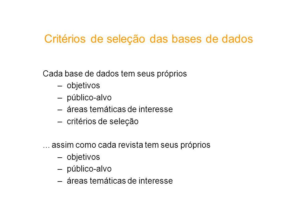 Cada base de dados tem seus próprios –objetivos –público-alvo –áreas temáticas de interesse –critérios de seleção... assim como cada revista tem seus