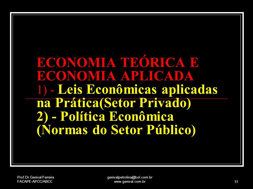 Prof.Dr.Genival Ferreira FACAPE-APCC/ABCC genivalpetrolina@bol.com.br www.genival.com.br 11 ECONOMIA TEÓRICA E ECONOMIA APLICADA 1) - Leis Econômicas