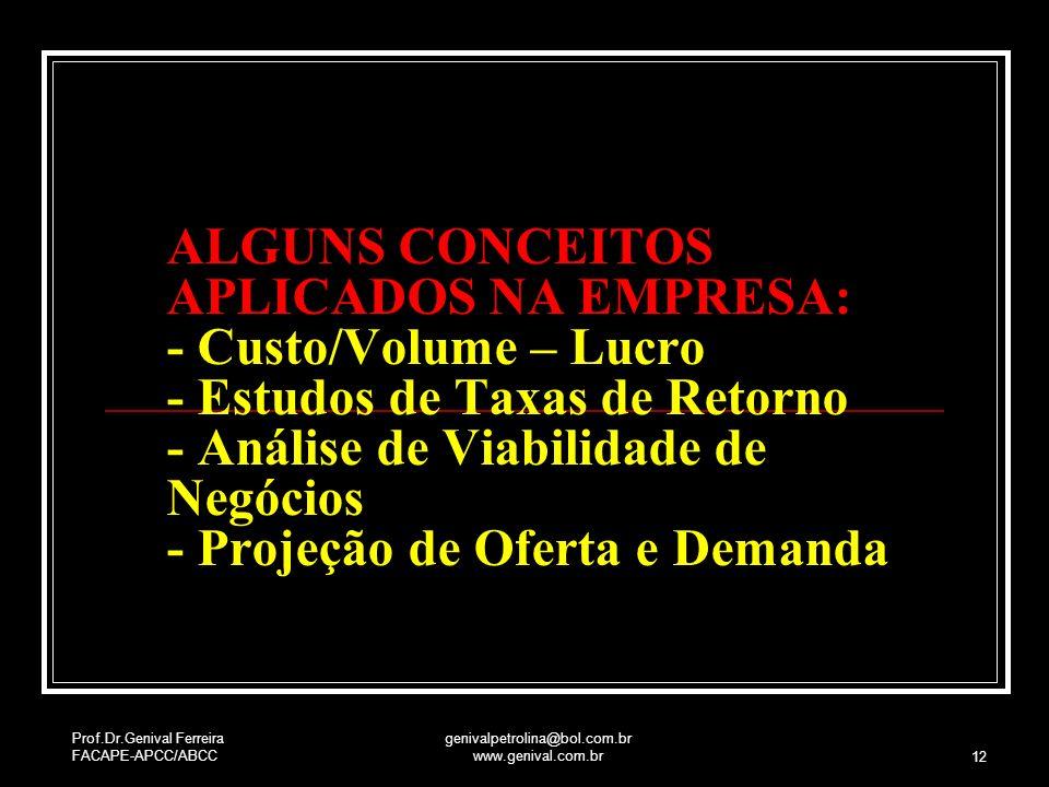Prof.Dr.Genival Ferreira FACAPE-APCC/ABCC genivalpetrolina@bol.com.br www.genival.com.br 12 ALGUNS CONCEITOS APLICADOS NA EMPRESA: - Custo/Volume – Lu
