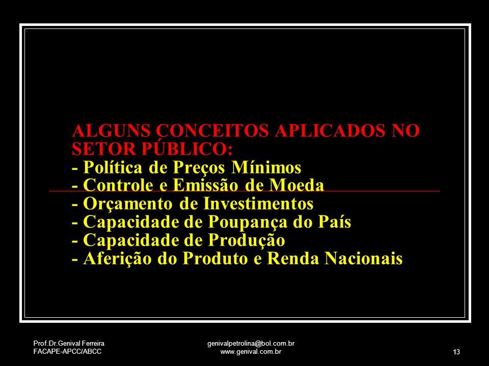 Prof.Dr.Genival Ferreira FACAPE-APCC/ABCC genivalpetrolina@bol.com.br www.genival.com.br 13 ALGUNS CONCEITOS APLICADOS NO SETOR PÚBLICO: - Política de