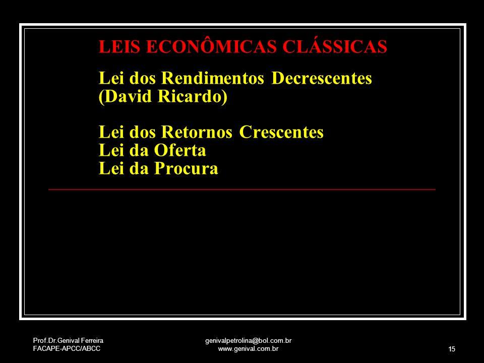 Prof.Dr.Genival Ferreira FACAPE-APCC/ABCC genivalpetrolina@bol.com.br www.genival.com.br 15 LEIS ECONÔMICAS CLÁSSICAS Lei dos Rendimentos Decrescentes