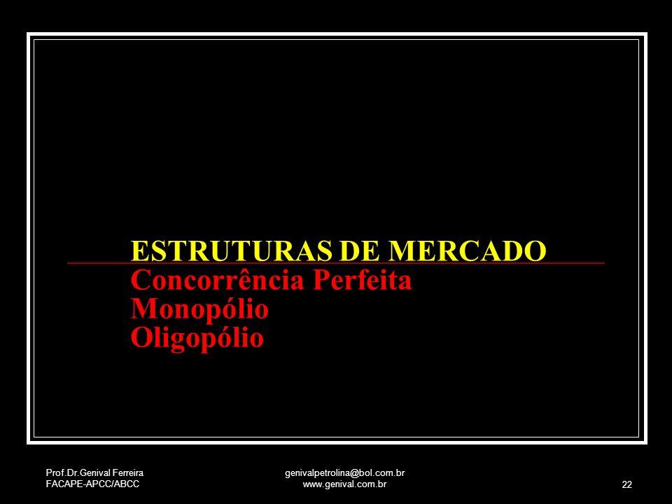 Prof.Dr.Genival Ferreira FACAPE-APCC/ABCC genivalpetrolina@bol.com.br www.genival.com.br 22 ESTRUTURAS DE MERCADO Concorrência Perfeita Monopólio Olig