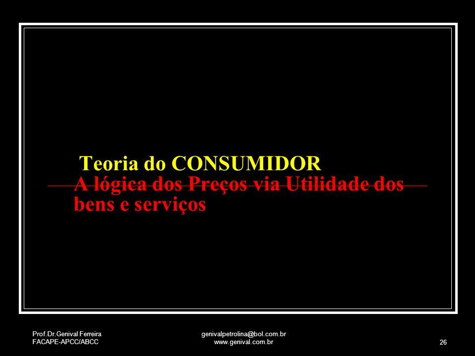 Prof.Dr.Genival Ferreira FACAPE-APCC/ABCC genivalpetrolina@bol.com.br www.genival.com.br 26 Teoria do CONSUMIDOR A lógica dos Preços via Utilidade dos