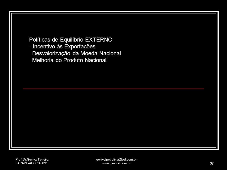 Prof.Dr.Genival Ferreira FACAPE-APCC/ABCC genivalpetrolina@bol.com.br www.genival.com.br 37 Políticas de Equilíbrio EXTERNO - Incentivo às Exportações
