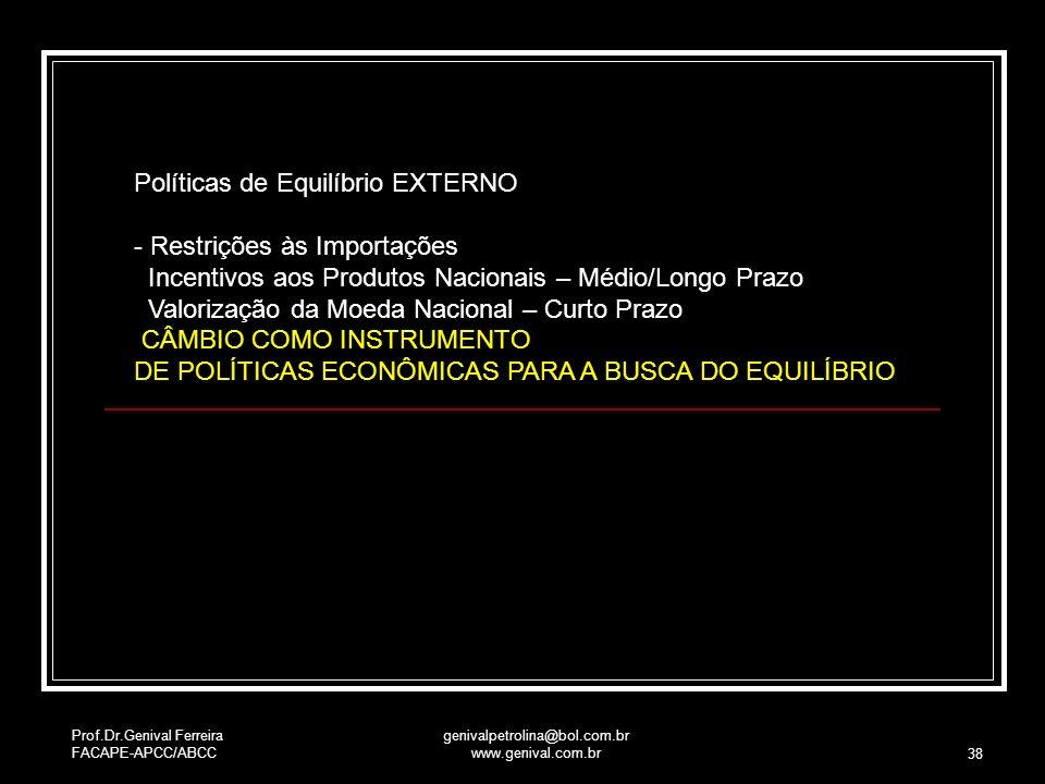 Prof.Dr.Genival Ferreira FACAPE-APCC/ABCC genivalpetrolina@bol.com.br www.genival.com.br 38 Políticas de Equilíbrio EXTERNO - Restrições às Importaçõe