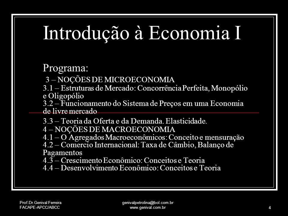 Prof.Dr.Genival Ferreira FACAPE-APCC/ABCC genivalpetrolina@bol.com.br www.genival.com.br 4 Introdução à Economia I Programa: 3 – NOÇÕES DE MICROECONOM