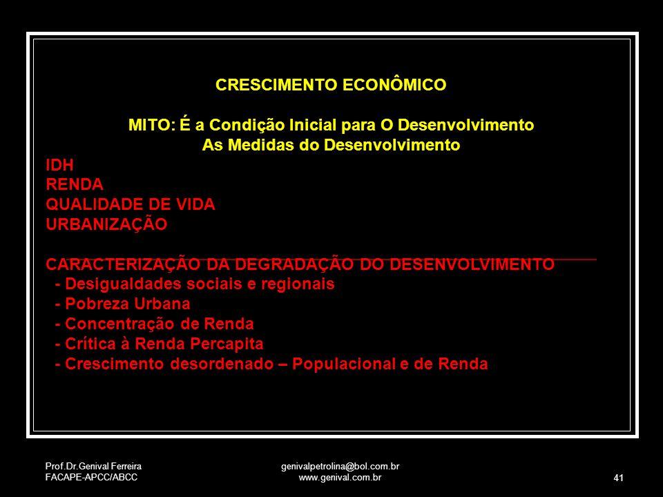 Prof.Dr.Genival Ferreira FACAPE-APCC/ABCC genivalpetrolina@bol.com.br www.genival.com.br 41 CRESCIMENTO ECONÔMICO MITO: É a Condição Inicial para O De