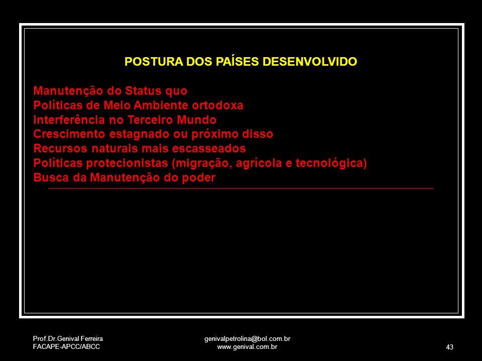 Prof.Dr.Genival Ferreira FACAPE-APCC/ABCC genivalpetrolina@bol.com.br www.genival.com.br 43 POSTURA DOS PAÍSES DESENVOLVIDO Manutenção do Status quo P