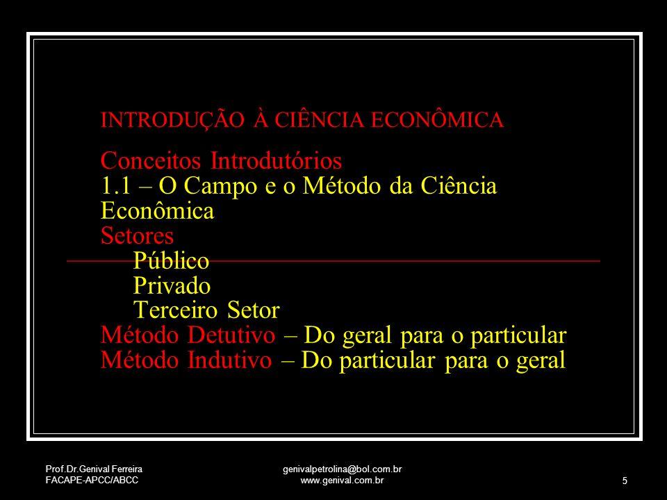 Prof.Dr.Genival Ferreira FACAPE-APCC/ABCC genivalpetrolina@bol.com.br www.genival.com.br 5 INTRODUÇÃO À CIÊNCIA ECONÔMICA Conceitos Introdutórios 1.1