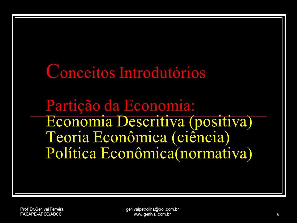 Prof.Dr.Genival Ferreira FACAPE-APCC/ABCC genivalpetrolina@bol.com.br www.genival.com.br 6 C onceitos Introdutórios Partição da Economia: Economia Des