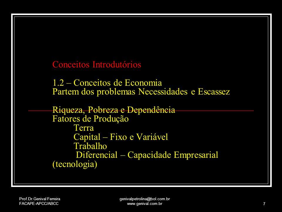 Prof.Dr.Genival Ferreira FACAPE-APCC/ABCC genivalpetrolina@bol.com.br www.genival.com.br 7 Conceitos Introdutórios 1.2 – Conceitos de Economia Partem