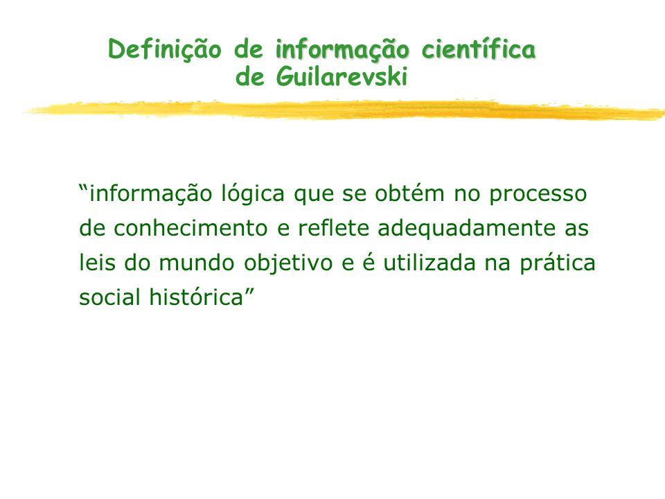 informação científica Definição de informação científica de Guilarevski informação lógica que se obtém no processo de conhecimento e reflete adequadam