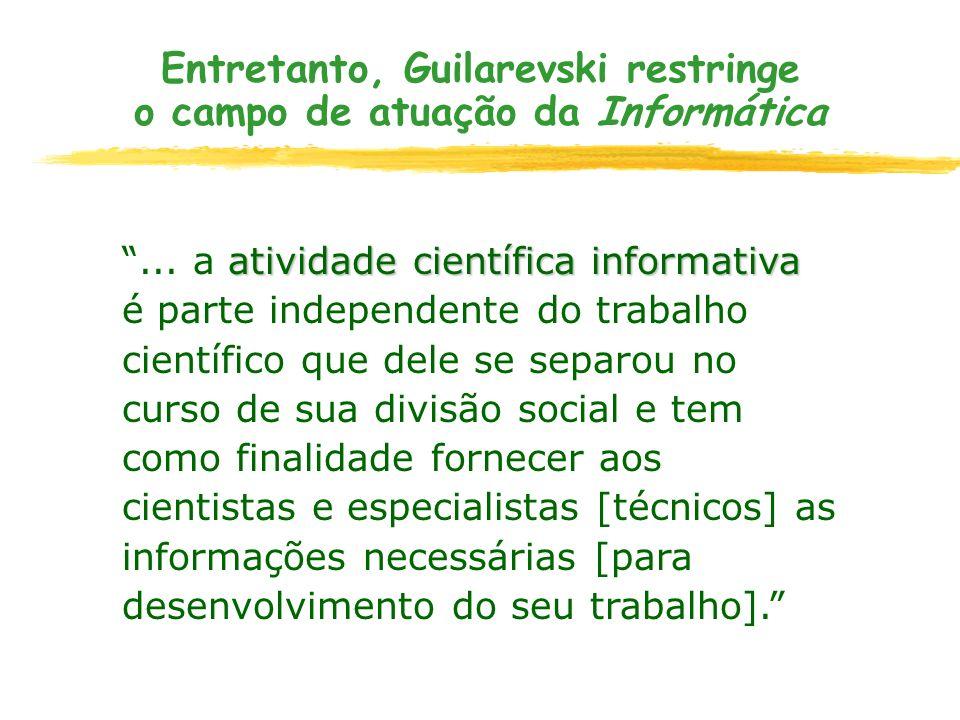 Entretanto, Guilarevski restringe o campo de atuação da Informática atividade científica informativa... a atividade científica informativa é parte ind