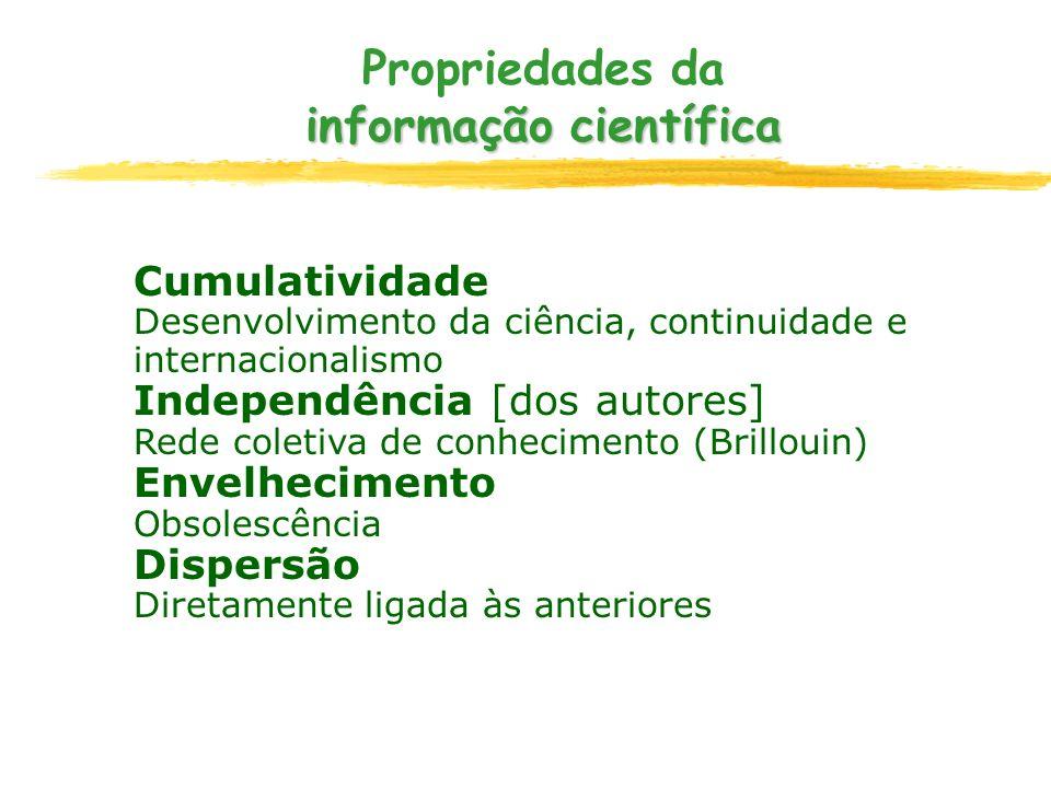 informação científica Propriedades da informação científica Cumulatividade Desenvolvimento da ciência, continuidade e internacionalismo Independência