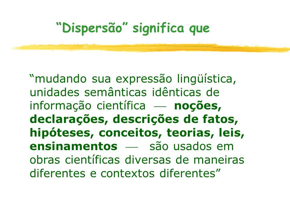 Dispersão significa que mudando sua expressão lingüística, unidades semânticas idênticas de informação científica noções, declarações, descrições de f